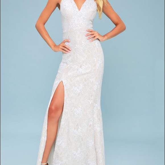 51f674e026e7 DRESS THE POPULATION IRIS WHITE LACE   NUDE GOWN